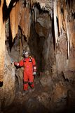 Caving in Spain. Caving in Acederal Cave, Zaragoza Province, Aragon, Spain stock photo