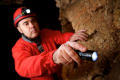 Caving in Spain. Caving in Cat Cave, Zaragoza Province, Aragon, Spain royalty free stock photography