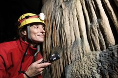 Caving in Spain. Caving in Hermosa Cave, Zaragoza Province, Aragon, Spain stock photography