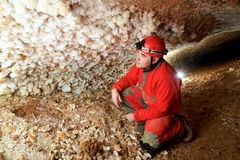 Caving in Spain. Caving in Niguella Cave, Zaragoza Province, Aragon, Spain stock photos