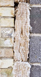Cavity insulation. Cavity wall insulation in progress Royalty Free Stock Image