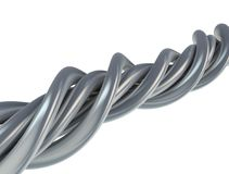 Cavo astratto di alluminio su bianco Fotografia Stock Libera da Diritti