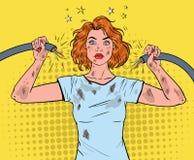 Cavo di Art Woman Holding Broken Electrical di schiocco Illustrazione Vettoriale