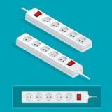 Cavo di estensione elettrico moderno su un fondo bianco Illustrazione isometrica del tappo di scarico di potere illustrazione di stock