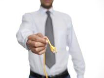 Cavo di Ethernet della holding dell'uomo d'affari fotografia stock
