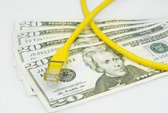 Cavo di lan con i soldi del dollaro Fotografie Stock