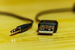 Cavo di USB ed a una entrata immagini stock libere da diritti