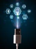 Cavo elettrico con le icone di multimedia Immagine Stock