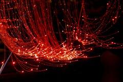 Cavo a fibre ottiche rosso Immagine Stock