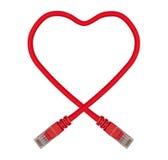Cavo a forma di della rete di Ethernet del cuore rosso Fotografie Stock Libere da Diritti