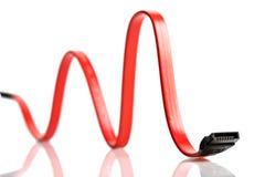 Cavo rosso di SATA Fotografia Stock