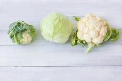 Cavolfiore, broccoli e primo piano del cavolo Fotografia Stock Libera da Diritti