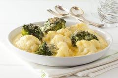Cavolfiore e formaggio dei broccoli Fotografie Stock Libere da Diritti
