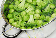 Cavolini e broccolo di Bruxelles immagine stock libera da diritti