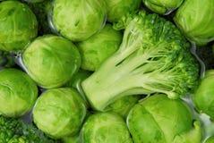 Cavolini e broccolo di Bruxelles fotografia stock libera da diritti