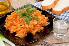 Cavolo fritto, vodka Fotografie Stock