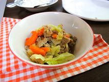Cavolo in padella e carota con carne di maiale tritata immagine stock libera da diritti