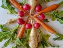 Cavolo rapa sano delle carote degli alimenti delle verdure miste fresche, fotografia stock