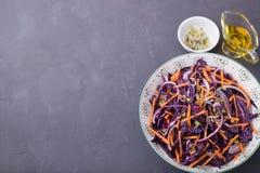 Cavolo rosso, carota, cipolla ed insalata dei germogli dei ravanelli Immagini Stock Libere da Diritti