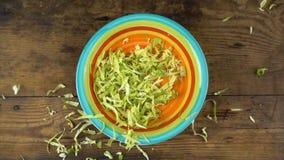 Cavolo tagliato di caduta in piatto con insalata, movimento lento stock footage