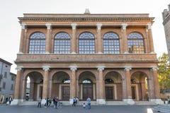 Cavour fyrkant och offentlig teater Amintore Galli i Rimini, Italien Arkivbilder