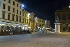 Cavour square at night in Rimini, Italy. Stock Photos