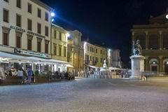 Cavour square at night in Rimini, Italy. Stock Photo