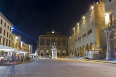 Cavour square at night in Rimini, Italy. Royalty Free Stock Photos