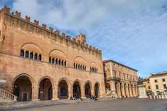 Cavour square in Rimini, Italy Stock Images