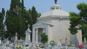 Cavtat tourist attraction is old town cemetery stock footage