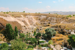 Cavusin old village, cave town in Cappadocia, Turkey Royalty Free Stock Photography