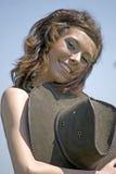 cawboy γυναίκα πορτρέτου καπέλ στοκ φωτογραφία με δικαίωμα ελεύθερης χρήσης