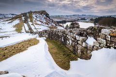 Cawfields Quarry and Hadrian`s Wall in winter Stock Photos