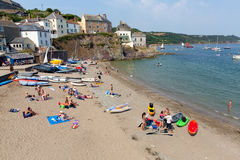 Cawsand beach Cornwall England United Kingdom on the Rame Peninsula overlooking Plymouth Sound. Holiday makers enjoying the summer heatwave at Cawsand beach stock photography