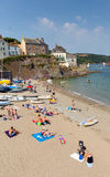 Cawsand beach Cornwall England United Kingdom on the Rame Peninsula overlooking Plymouth Sound. Holiday makers enjoying the summer heatwave at Cawsand beach stock images