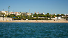 Caxias beach and village, Oeiras, Portugal. View of Caxias beach and village from Tagus (Tejo). Caxias was once a very popular beach for Lisbon (Lisboa) people stock photography