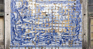 Caxias Royal Palace I. Detail of the highly degraded tiles decorating the facade wall of the 18th century Royal Palace of Caxias, Portugal Stock Photos