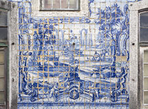 Caxias Royal Palace I. Detail of the highly degraded tiles decorating the facade wall of the 18th century Royal Palace of Caxias, Portugal Royalty Free Stock Photo