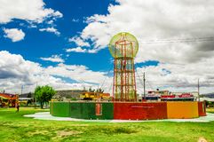 CAYAMBE, ECUADOR - SEPTEMBER 05, 2017: Beautiful colorful metallic structure located in the midle of a park in the city Royalty Free Stock Image