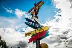 CAYAMBE, ECUADOR - SEPTEMBER 05, 2017: Close up of informative sign of distance from Cayambe, of different countries. Written over a wooden arrow. National Park Stock Photo