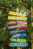 CAYAMBE, ECUADOR - SEPTEMBER 05, 2017: Informative sign of distance from Cayambe, of different countries written over a. Wooden arrow. National Park Cayambe Royalty Free Stock Images