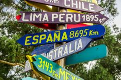 CAYAMBE, ECUADOR - SEPTEMBER 05, 2017: Informative sign of distance from Cayambe, of different countries written over a. Wooden arrow. National Park Cayambe Stock Image