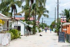 CAYE填缝隙工,伯利兹- 2017年11月19日:Caye填缝隙工海岛在加勒比海 有地方建筑学和人的桑迪街 库存图片