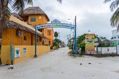 CAYE CAULKER, BELIZE - NOVEMBER 20, 2017: Caye Caulker Island Entrance Sign Welcome to Caye Caulker Stock Photo