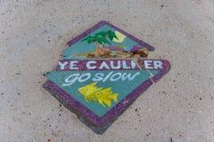 CAYE CAULKER, BELIZE - NOVEMBER 20, 2017: Caye Caulker Island Sign Go Slow. Caye Caulker Island Sign Go Slow royalty free stock images