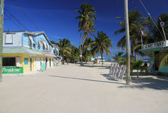 Caye Caulker Street. Caye Caulker, Belize-November 9, 2014: Caye Caulker is a small island near Ambergris Caye, Belize. The island is very popular with divers Royalty Free Stock Images