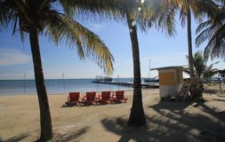 Caye-Kalfaterer-Belize-Strand Stockfoto