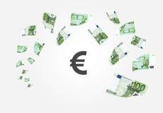 Cayendo 100 billetes de banco euro del dinero Imagen de archivo libre de regalías