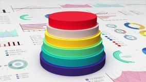 Cayendo seis cilindros del círculo diagram en el gráfico económico, carta financiera, para el templete de la presentación (la alf stock de ilustración