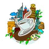 Cayendo una taza de etiqueta engomada del café Fotos de archivo